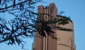 Logo Landswatervoorzieningsdienst (LWV) on top of the Water Tower in San Nicolas