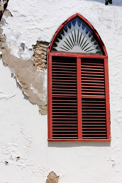 Window at Protestant Church Oranjestad