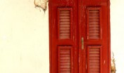 Red door at Protestant Church Oranjestad